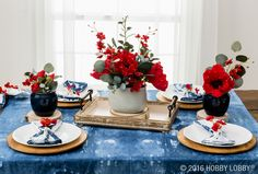 Create an easy Labor Day tablescape with red, white & blue blooms!