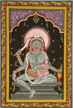 Goddess Chamunda is the terrifying and fearsome aspect of the Divine Mother. She is considered as the furious form of goddess Durga, but sh. Divine Mother, Mother Goddess, Ganesha, Goddess Names, Durga Goddess, Lord, Hindu Deities, Hindu Art, Musa