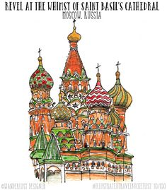 Revel at the Whimsy of Saint Basil's Cathedral Moscow - Illustrated Travel Bucket List by Wanderlust Designer