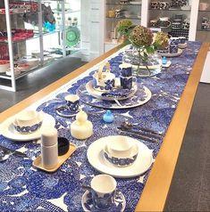 💙 The Mynsteri collection looking beautiful 💙 Contemporary Cushions, Screenprinting, Marimekko, Blue Design, Sardinia, Scandinavian Design, Hydrangea, Tablescapes, Fabric Design