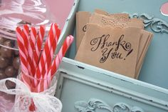 Thank you candy bar - fill bowls up with different candies, and place bags out with thank you on them. That way guest can pick which candy they'd like!