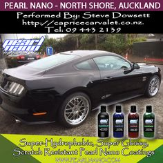 Amazing gloss & shine on this new Mustang coated with Pearl Nano for the owner of a local panel shop. Ceramic Coating Performed by Steve Dowsett at Caprice Car Valet. Contact the North Shore, Auckland  professional installer of super- Hydrophobic, Super Glossy, Scratch resistance Pearl Nano Coating @ Tel: 094432139 / http://capricecarvalet.co.nz  Professionals Only - Wholesale & Private Label Options Available.http://www.pearlnano.com/ - 1-866-285-1051 - Email: Dave@PearlUSA.net. #steveD