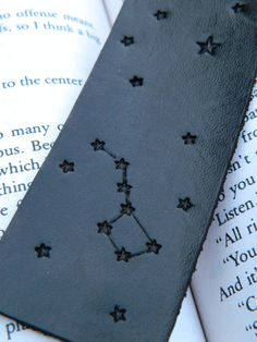Leather Bookmark - Big Dipper - Constellation - Little Dipper - Hand Carved and Tooled