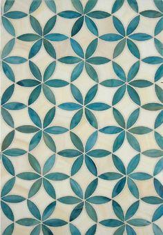 Green tiles with flower motif # tiles - Fliesen Tiles - Geometric Decor