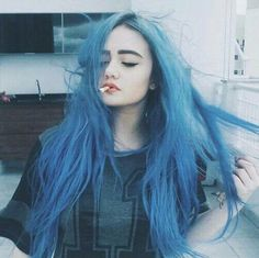 Pastel Goth Blue Long Hairstyle - http://ninjacosmico.com/9-fashion-tips-pastel-grunge/