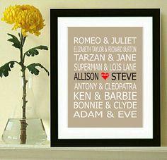Famous Couples Print Couples Art Personalized von DIGIArtPrints