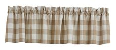 Natural Wicklow Check Window Curtain Valance 72 x 14 Check Curtains, Lined Curtains, Window Cornices, Window Curtains, Country Style Curtains, Applique Pillows, Check Fabric, Natural Home Decor, Blue China