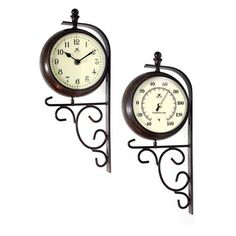 """Infinity Instruments Long Island Indoor/Outdoor Two Sided Clock and Thermometer - 6.5"""" Diameter Infinity Instruments"""