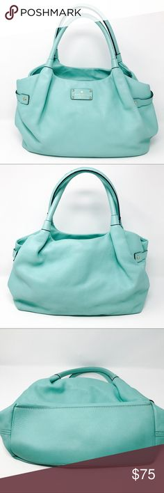 "🎉SOLD🎉Kate Spade Shoulder Bag Gorgeous mint/Tiffany blue Kate Spade shoulder bag. Has gold hardware. In beautiful pre loved condition. Has some wear on handles and on bottom corner (see fourth photo) and has some darkening on the bottom (see third photo). Interior is in good condition with some small stains on the bottom (see fourth photo).  Bag has so much life left and pretty much all signs of wear are not noticeable when in use. Has so much life left and ready for a new home.   14""L x…"
