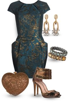 """Teal & Bronze"" by yasminasdream on Polyvore"