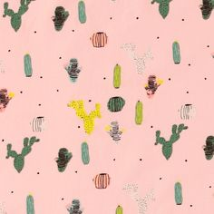 Stretch jersey light rose with cactus