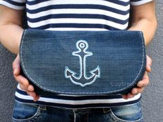 upcycled blue jeans clutch bag with hand embroidered anchor