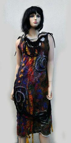 etsy.com    Dress, felted, felt, wool, cotton gauze, fibre art,