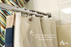 Practical Bathroom Cleaning + Organizing Tips: Washable Fabric Curtain Liners [Andrea Arch]