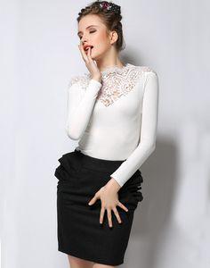 Camiseta combinada encaje manga larga-blanco 16.14