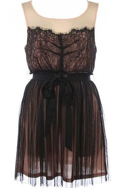 Veiled Babydoll Dress: Features a sheer blush-tinged yoke with keyhole closure at nape, illusion sweetheart neckline edged with scalloped eyelash lace for an exotic look, adjustable black ribbon belt at waist, and an elegantly gathered tulle skirt to finish.
