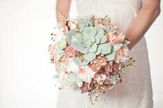 Succulent Bouquet Alternative, Brooch fabric flowers, Peach, Mint, Copper, Rose Gold by Cultivar