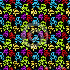(C) Celia Ascenso - Seamless Colored Skulls Background.
