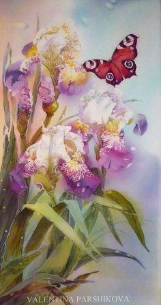 https://flic.kr/p/cL9vtJ   Бабочка, порхающая над цветами ирисов. горячий батик 80x50   художник Паршикова Валентина