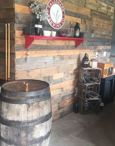 Rustic basement decorating with pallets and old crates