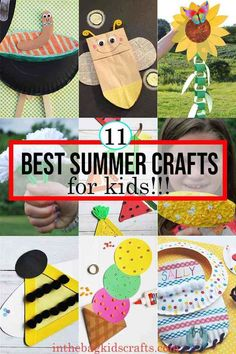 11 BEST SUMMER CRAFTS FOR KIDS 11 BEST SUMMER CRAFTS FOR KIDS Learn to make all of these amazing and simple summer crafts for kids.  This easy DIY kids' crafts can be found at inthebagkidscrafts.com, where every project is made from the same master list of craft supplies that fit into one bag.  This unique approach to crafting with your kids makes it actually do-able for real life, minimizing the stress, prep time and mess usually involved with kids' crafts.  #summercraftsforkids… Diy Crafts For Kids Easy, Paper Plate Crafts For Kids, Animal Crafts For Kids, Summer Crafts For Kids, Craft Projects For Kids, Craft Activities For Kids, Toddler Crafts, Kids Crafts, Summer Kids