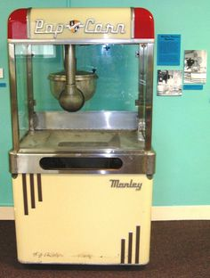 Here is a Manley Aristocrat popcorn machine from the Artcraft Theatre in Franklin, Indiana.  It is currently on display at the Johnson Country Museum in Franklin, Indiana.