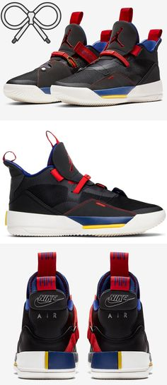 9eaddd3926a Sleek red, blue, black, white, and yellow athletic men's sneakers. A