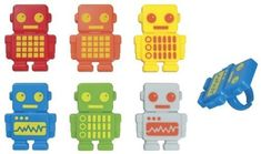 48  Robot Party Rings  Designer CakeCupcake Topper  New ** Be sure to check out this awesome product.