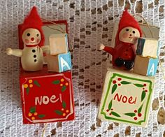 Set of 2 Vintage Wood Jack In the Box Christmas Tree Ornaments Snowman Elf NOEL #ChristmasOrnaments #WoodOrnaments #Ornaments #Christmas