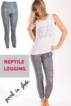 Reptile Legging Full-On Luon fabric gives incredible support and coverage with a cottony-soft feel, this technical fabric is sweat-wicking, four-way stretch and breathable added LYCRA® fibre moves with you and stays in great shape second-skin, smooth waistband is designed to eliminate muffin top, stow your yoga pass or gym card in our signature waistband secret pocket imported fit + function designed for: yoga, gym, to-and-from & Athleisure. |$65 |