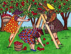 """Carolyn's """"Girls"""" picking apples."""