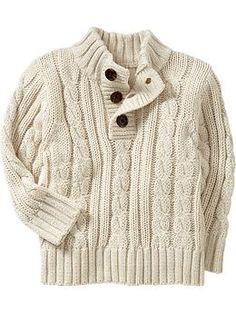 cream coloured cable knit sweater for boys. My nephew will be sporting this. Trendy Toddler Boy Clothes, Toddler Boy Outfits, Toddler Boys, Kids Outfits, Toddler Chores, Baby Boy Knitting Patterns, Sweater Knitting Patterns, Baby Knitting, Baby Sweaters