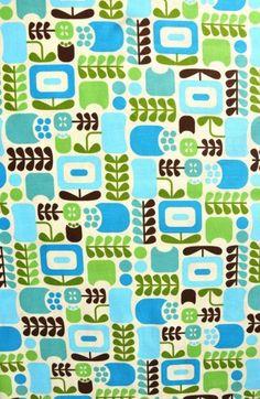 Stof retro bloemen turquoise en groen