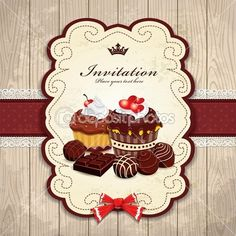 Vintage frame with chocolate cupcake template by Donnay - Imagens vectoriais em stock