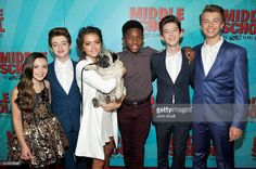 Actors Alexa Nisenson, Thomas Barbusca, Isabela Moner, Louie, Luke Hardeman, Griffin Gluck, and Jacob Hopkins attend the Los Angeles red carpet screening of 'Middle School: The Worst Years Of My Life' at TCL Chinese Theatre on October 5, 2016 in Hollywood, California.