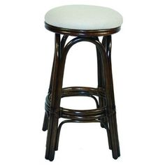 "Hospitality Rattan Carmen 30"" Swivel Bar Stool Frame Finish: Antique, Upholstery: Patriot Kiwi"
