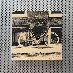 New to dustonmyboots on Etsy: Amsterdam Bike handmade wood grain block photo artwork print vintage bicycle basket brick cobblestone street Netherlands Holland circle CAD) Amsterdam Bike, Bicycle Basket, Blue Coats, Vintage Bicycles, Artwork Prints, Wood Grain, Netherlands, Holland, 4x4