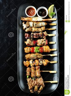 Photo about Japanese cuisine Grilled ,set yakitori. Image of dish, beef, breast - 24875185