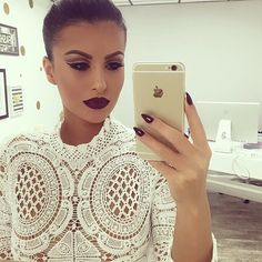 Makeup. Hair. Style. Lace Top. Dark Lip. Amrezy. Spotted via @amrezy's photo on Instagram