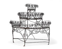 victorian threetier wire plant stand cowanu0027s auctions