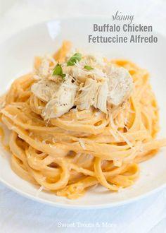Skinny Buffalo Chicken Fettuccine Alfredo   Sweet Treats and More