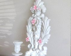 Vintage 1971 Ornately Carved Fleur de Lis Wall Candle Sconce Homco/Burwood/Syroco Chic White Shabby Pink Roses Chic Crystal Prisms Victorian - Edit Listing - Etsy