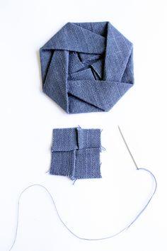 Making folded fabric origami flowers:-)
