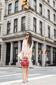 Spring Romance :: Ruffle dress & Rockstud spike bag :: Outfit ::  Dress :: ASOS | Anine Bing lace bralette Bottom :: Alice + Olivia shorts underneath Bag :: Valentino Shoes :: Dior Accessories :: Karen Walker sunglasses | Catbird necklaces Published: May 1, 2017