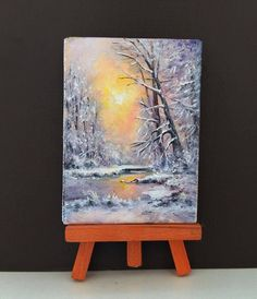 ACEO Winter painting aceo original painting on canvas miniature painting oil painting sunset landscape Woodland painting ATC art card by PicNatArt on Etsy https://www.etsy.com/listing/581822919/aceo-winter-painting-aceo-original #OilPaintingSunset