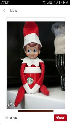 Elf loves Starbucks