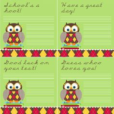 """Owl Note Cards - """"School's a hoot!"""" """"Have a great day!"""" - free printable"""