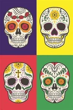 traditional mexican skull design ART POSTER crosses flowers cultural 24X36