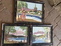 Vintage Japanese Bunka Needlepoint Trio Asian Scenes Geisha Mt Fuji