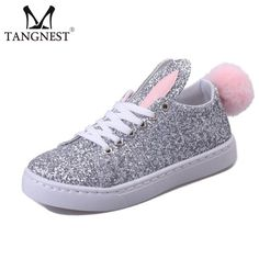 Tangnest NEW Autumn Women Casual Shoes 2017 Cute Rabbit Pattern Lace-up Flats For Women Bling PU Leather White Shoes White Leather Shoes, White Shoes, Pu Leather, Women's Casual, Casual Shoes, Shoes 2017, Lace Up Flats, Front Row, Rabbit